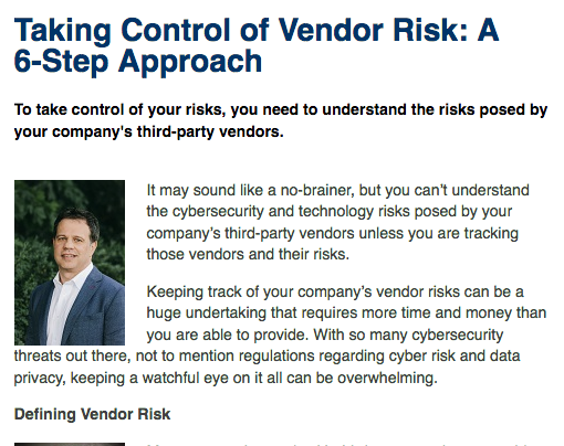 Taking Control of Vendor Risk: A 6-Step Approach