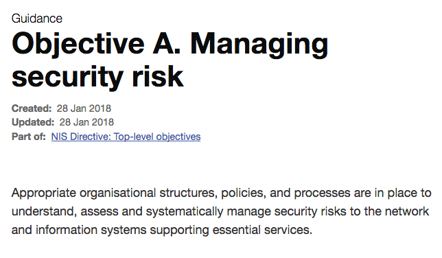 Objective A. Managing security risk