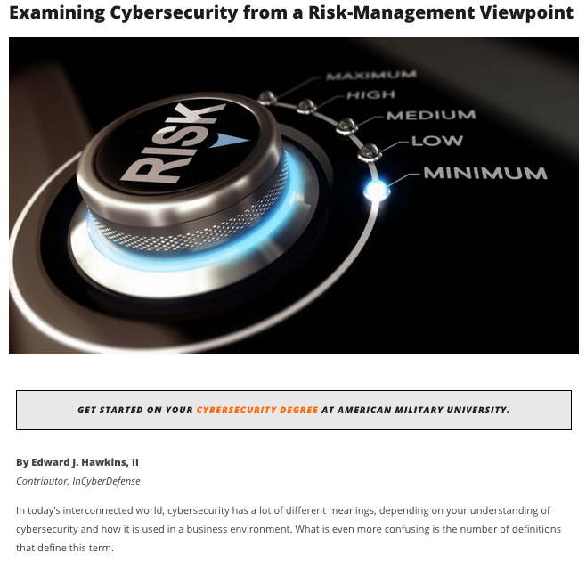 Cybersecurity from a Risk-Management
